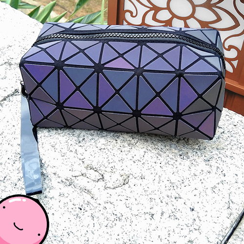 Color Change Rainbow Geometric Lattice Fold Cosmetic Pouch